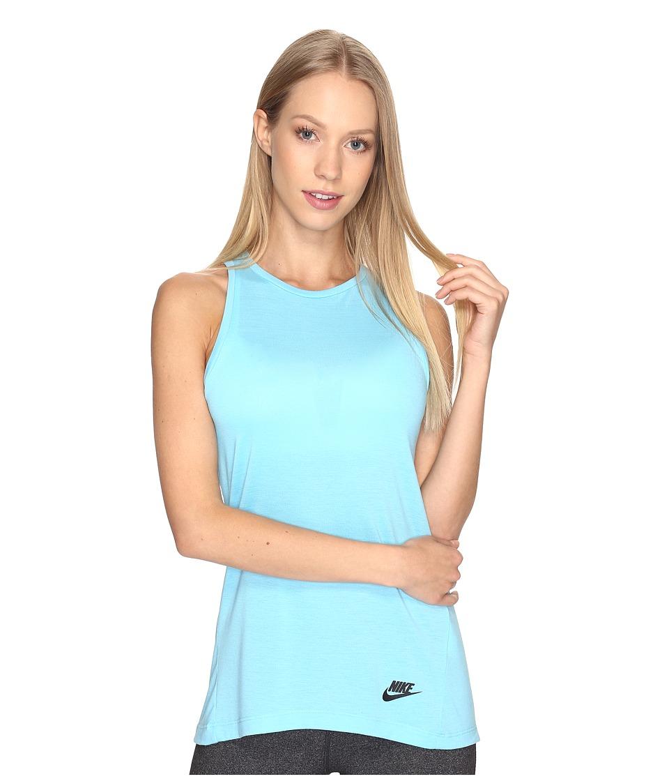 Nike - Sportswear Essential Tank Top (Vivid Sky/Vivid Sky/Black) Women's Sleeveless