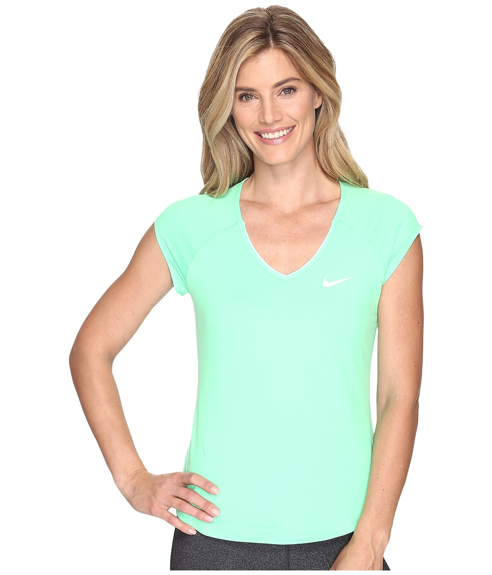 Nike - Court Pure Tennis Top (Electro Green/White) Women's Short Sleeve Pullover