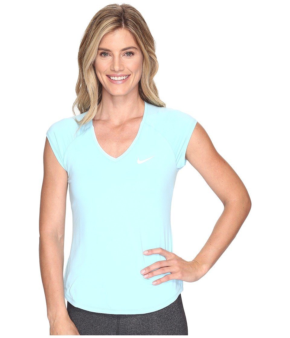 Nike - Court Pure Tennis Top (Still Blue/White) Women's Short Sleeve Pullover