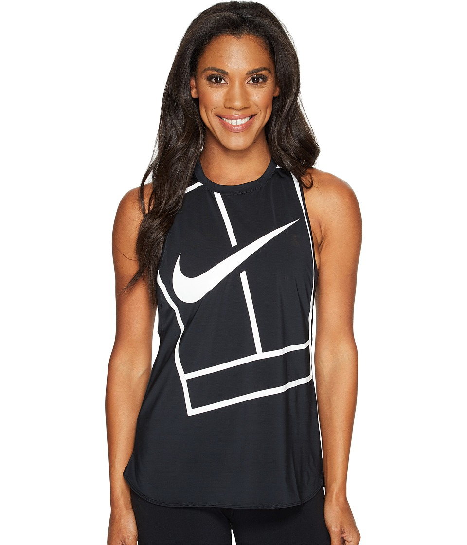 Nike - Court Tennis Tank (Black/White/White) Women's Sleeveless