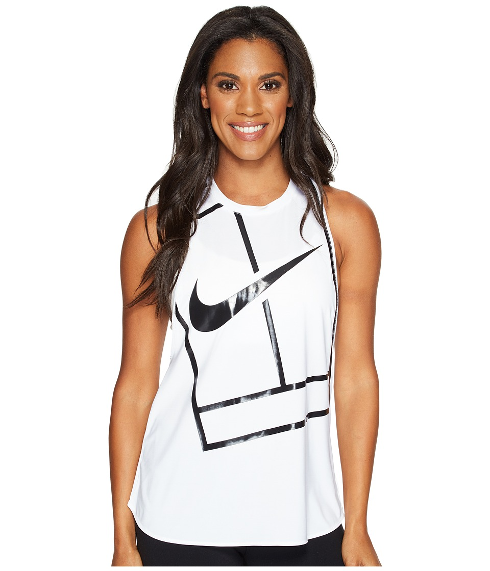 Nike - Court Tennis Tank (White/White/Black) Women's Sleeveless
