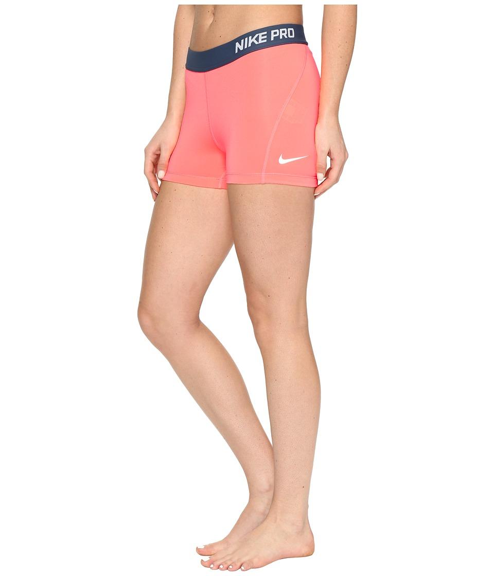 Nike - Pro 3 Cool Compression Training Short (Lava Glow/White) Women's Shorts