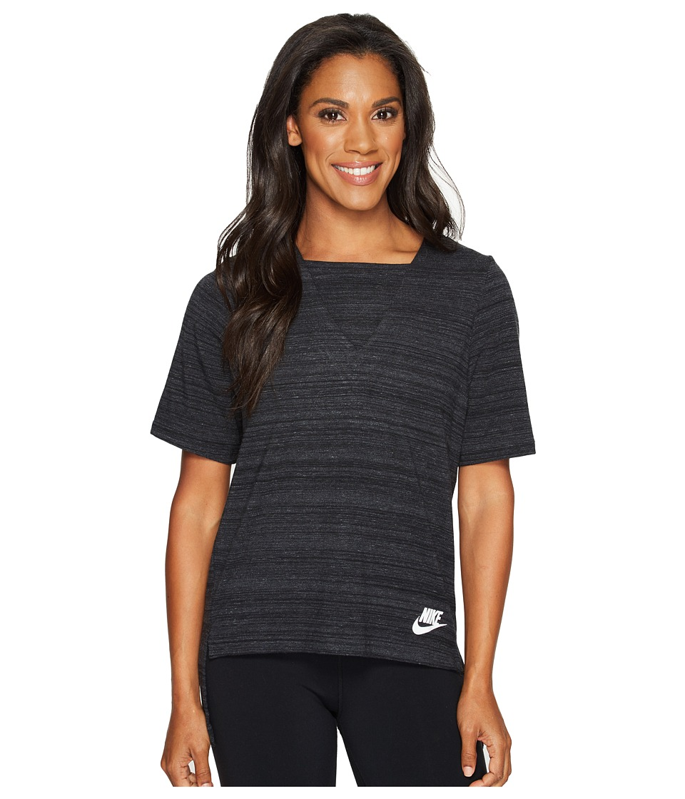 Nike - Sportswear Advance 15 Short Sleeve Top (Black/White) Women's Clothing