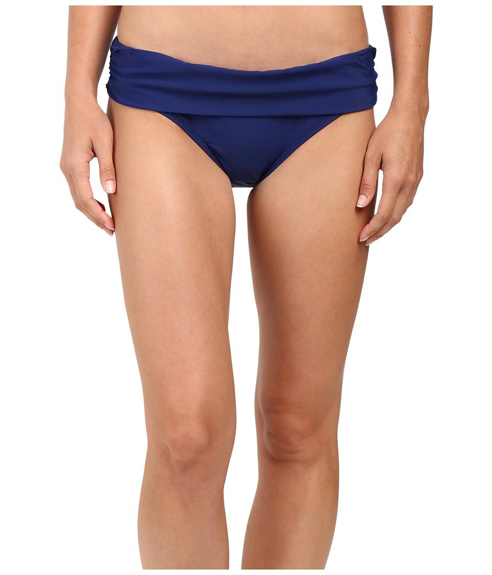 Athena - Cabana Solids Lani Banded Bikini Bottom (Navy) Women's Swimwear