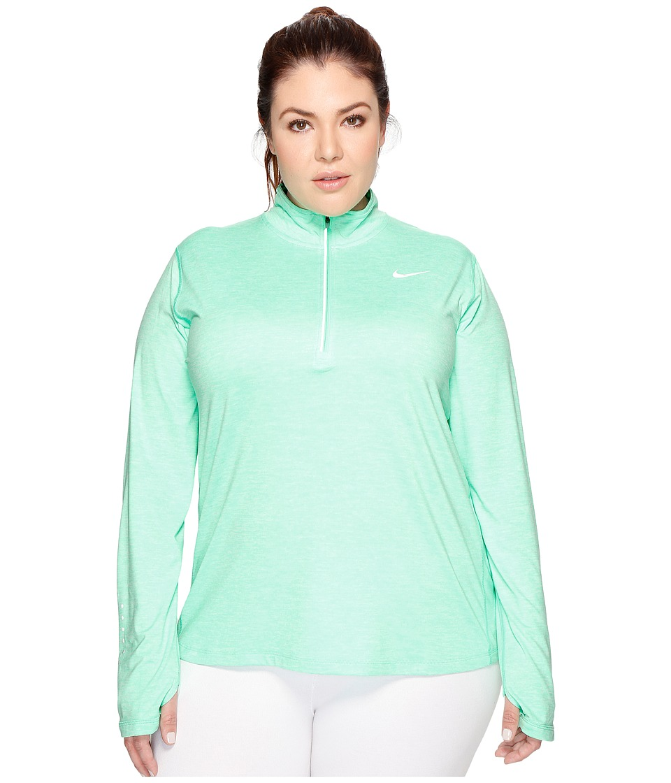 Nike - Dry Element 1/4 Zip Running Top (Size 1X-3X) (Electro Green/Heather/Reflective Silver) Women's Long Sleeve Pullover