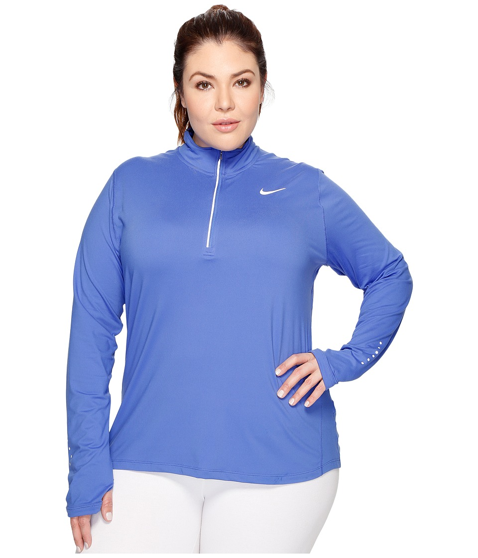 Nike - Dry Element 1/4 Zip Running Top (Size 1X-3X) (Comet Blue/Reflective Silver) Women's Long Sleeve Pullover