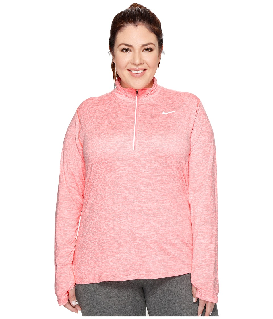 Nike - Dry Element 1/4 Zip Running Top (Size 1X-3X) (Bright Melon/Heather/Reflective Silver) Women's Long Sleeve Pullover