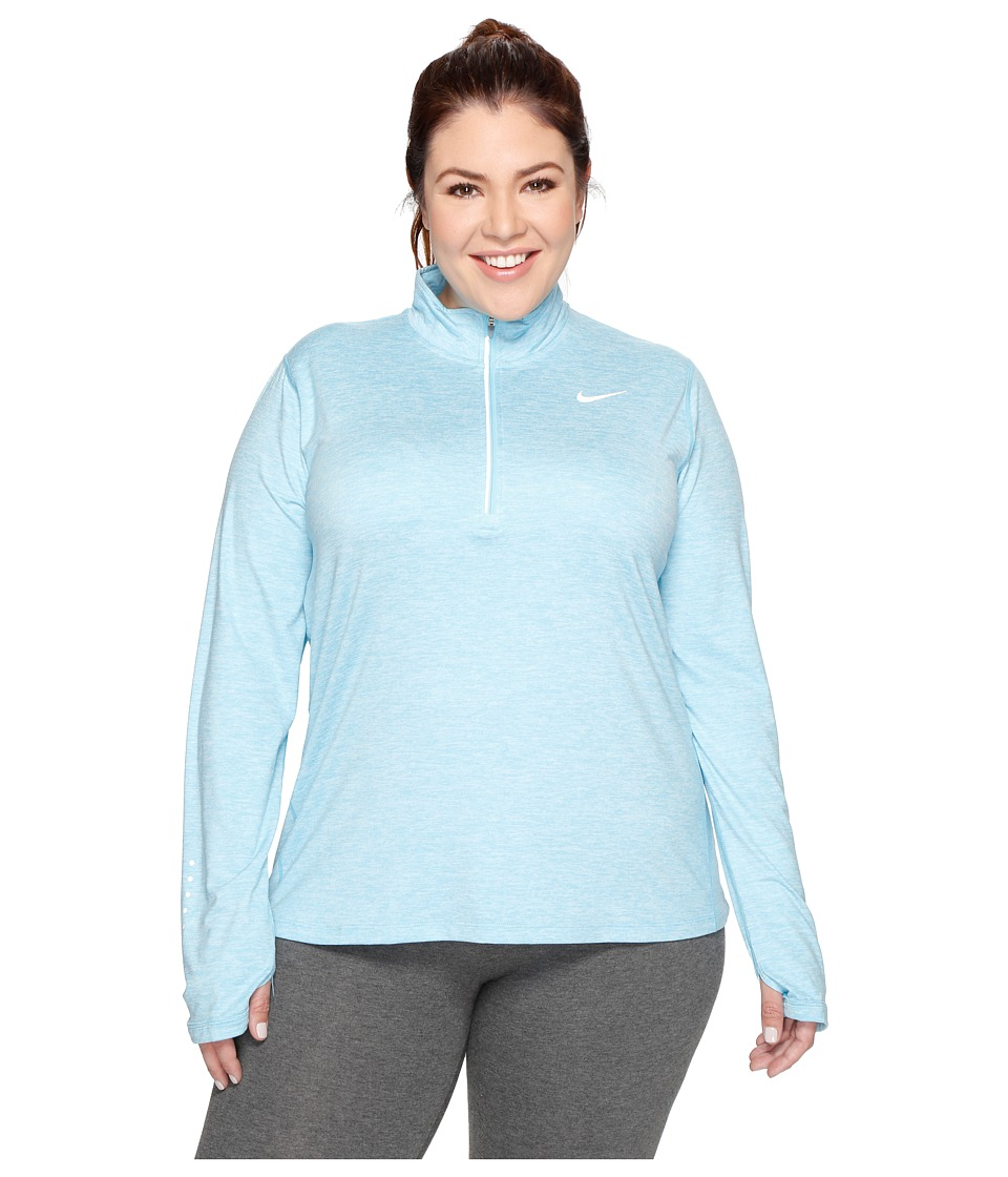 Nike - Dry Element 1/4 Zip Running Top (Size 1X-3X) (Vivid Sky/Heather) Women's Long Sleeve Pullover