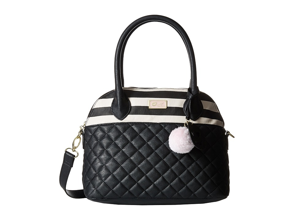 Luv Betsey - Rosiee Quilted Heart Satchel (Black/White) Satchel Handbags