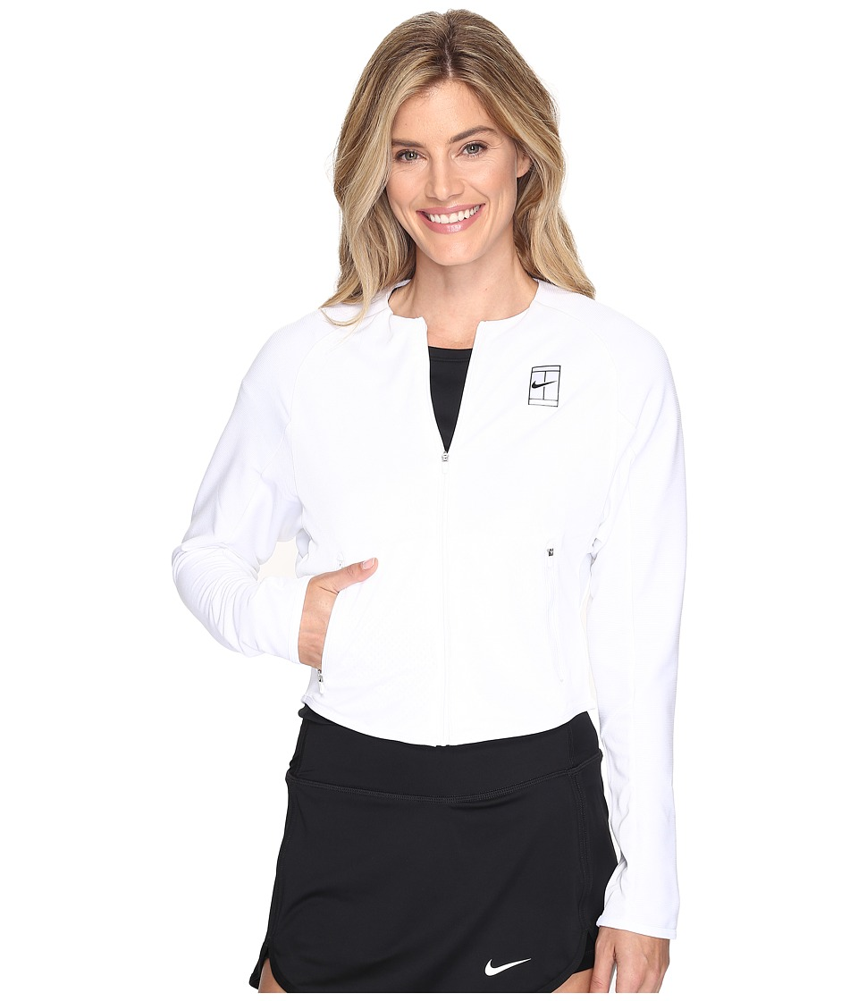 Nike - Court Tennis Jacket (White/Black/Black) Women's Coat