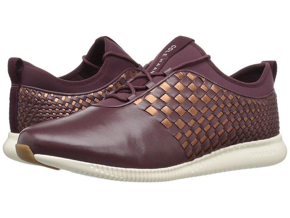 Cole Haan 2.0 Studiogrand Weave Trainer (Deep Berry Leather/Neoprene/Deep Copper Metallic Leather/Ivory) Women