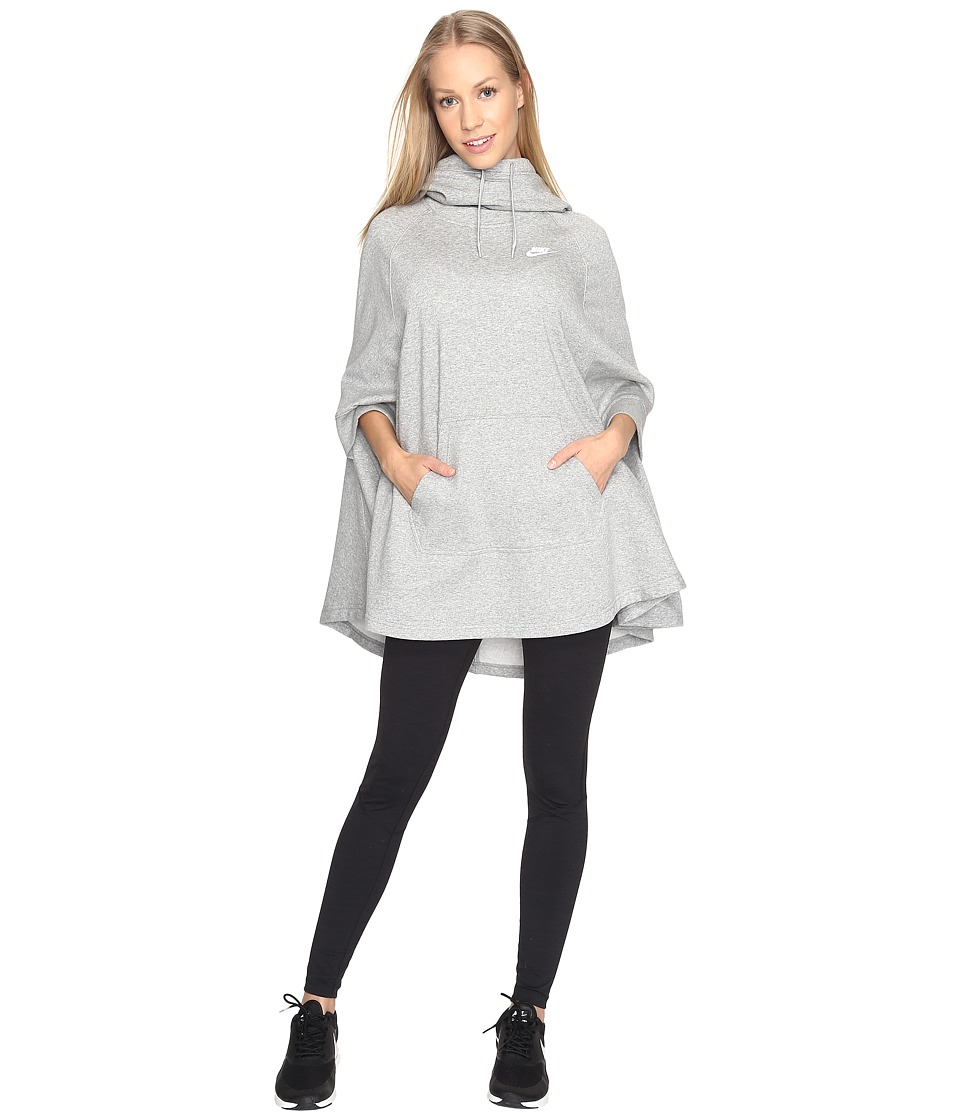 Nike - Sportswear Fleece Poncho (Dark Grey Heather/Cool Grey/White) Women's Fleece