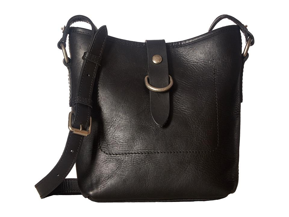 Frye - Amy Bucket (Black Washed Oiled Vintage) Cross Body Handbags