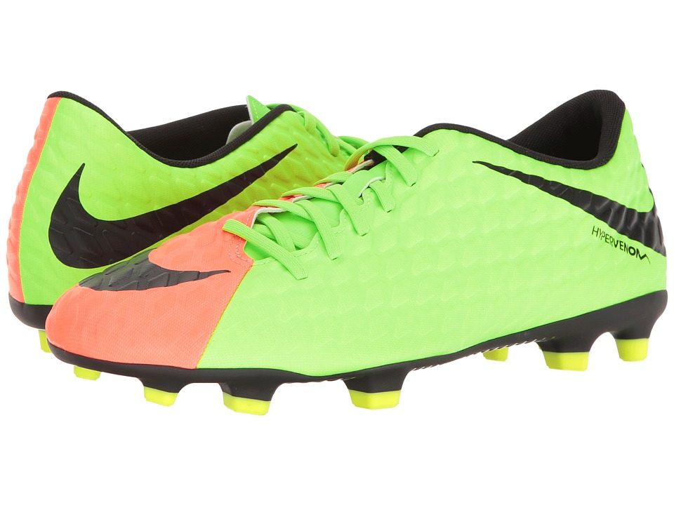 Nike - Hypervenom Phade II FG (Electric Green/Black/Hyper Orange/Volt) Men's Soccer Shoes