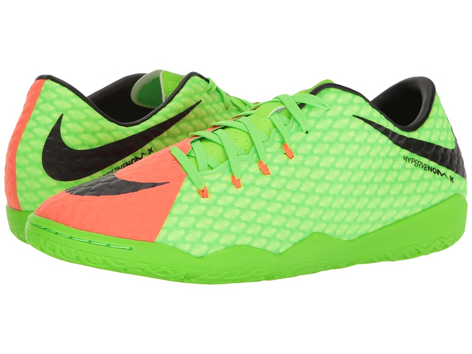 Nike - Hypervenom Phelon III IC (Electric Green/Black/Hyper Orange/Volt) Men's Soccer Shoes