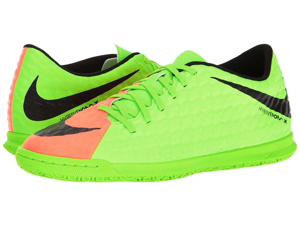 Nike - Hypervenom Phade III IC (Electric Green/Black/Hyper Orange/Volt) Men's Soccer Shoes