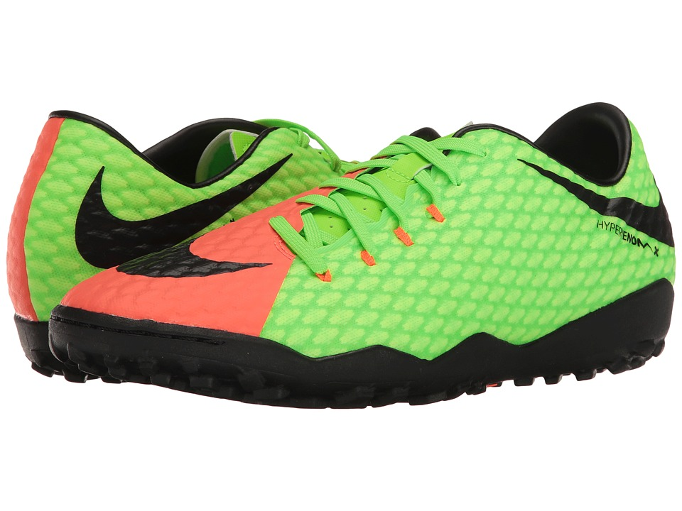 Nike - Hypervenom Phelon III TF (Electric Green/Black/Hyper Orange/Volt) Men's Soccer Shoes