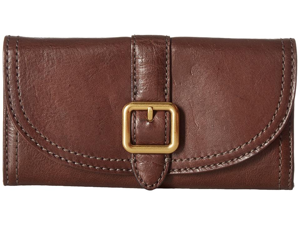 Frye - Claude Buckle Wallet (Chocolate Pebbled Full Grain) Wallet Handbags