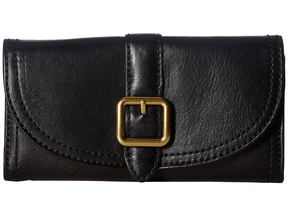 Frye - Claude Buckle Wallet (Black Pebbled Full Grain) Wallet Handbags