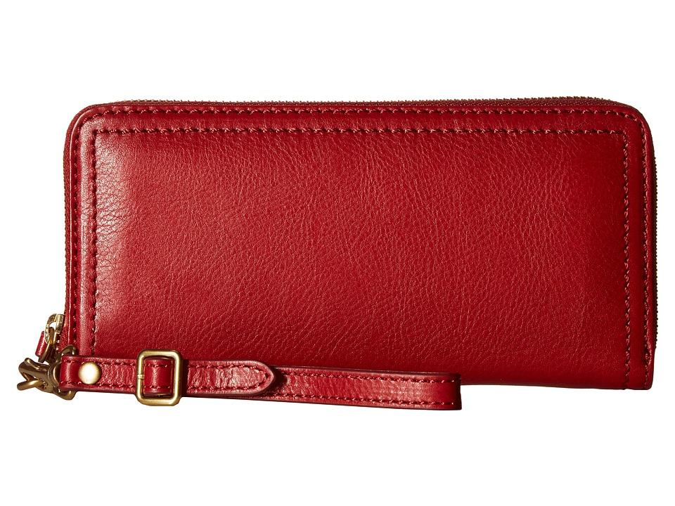 Frye - Claude Zip Wallet (Red Pebbled Full Grain) Wallet Handbags
