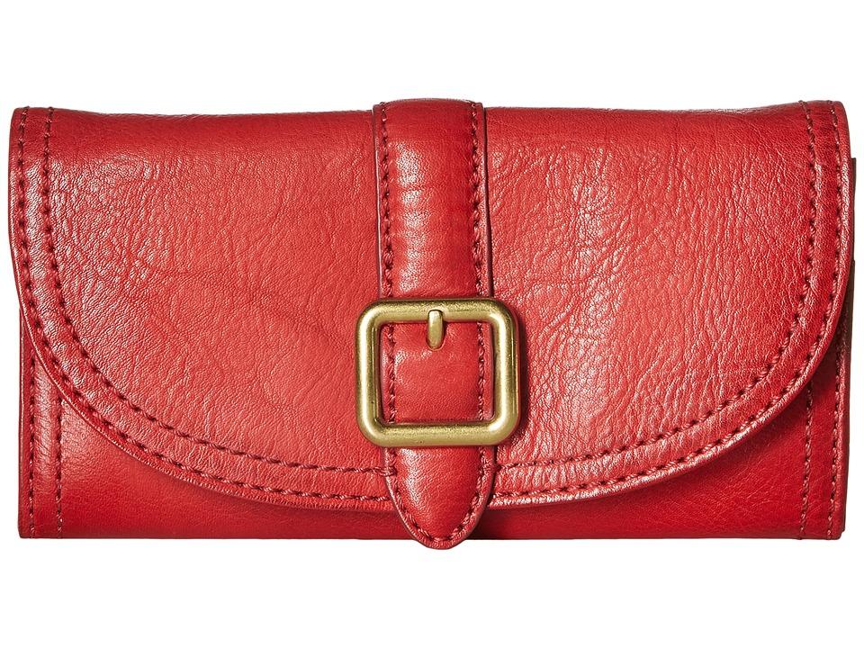 Frye - Claude Buckle Wallet (Red Pebbled Full Grain) Wallet Handbags