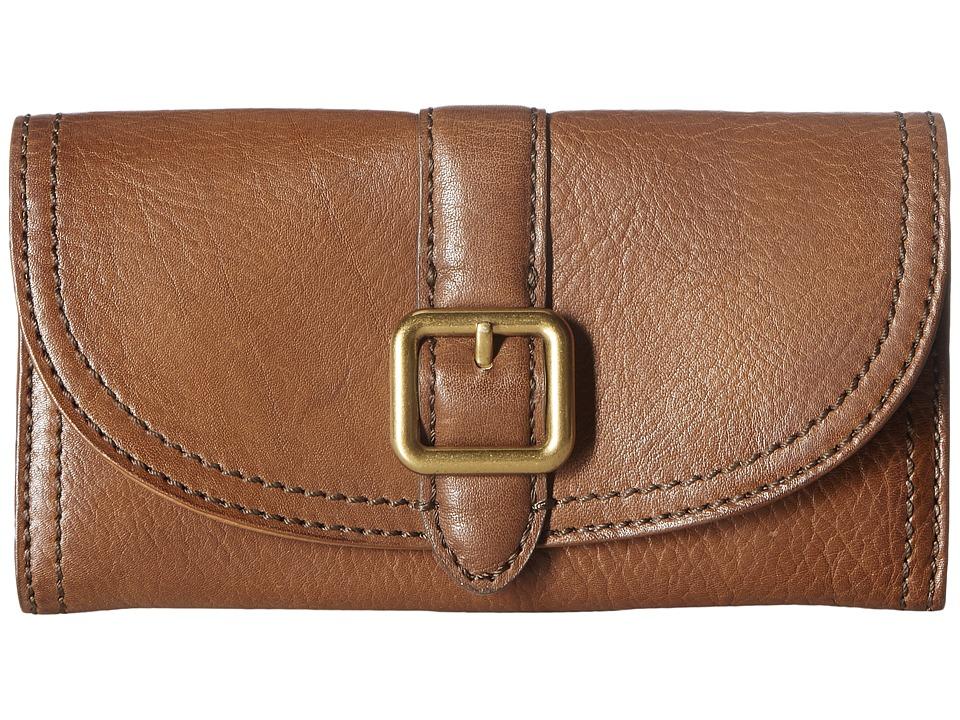 Frye - Claude Buckle Wallet (Whiskey Pebbled Full Grain) Wallet Handbags