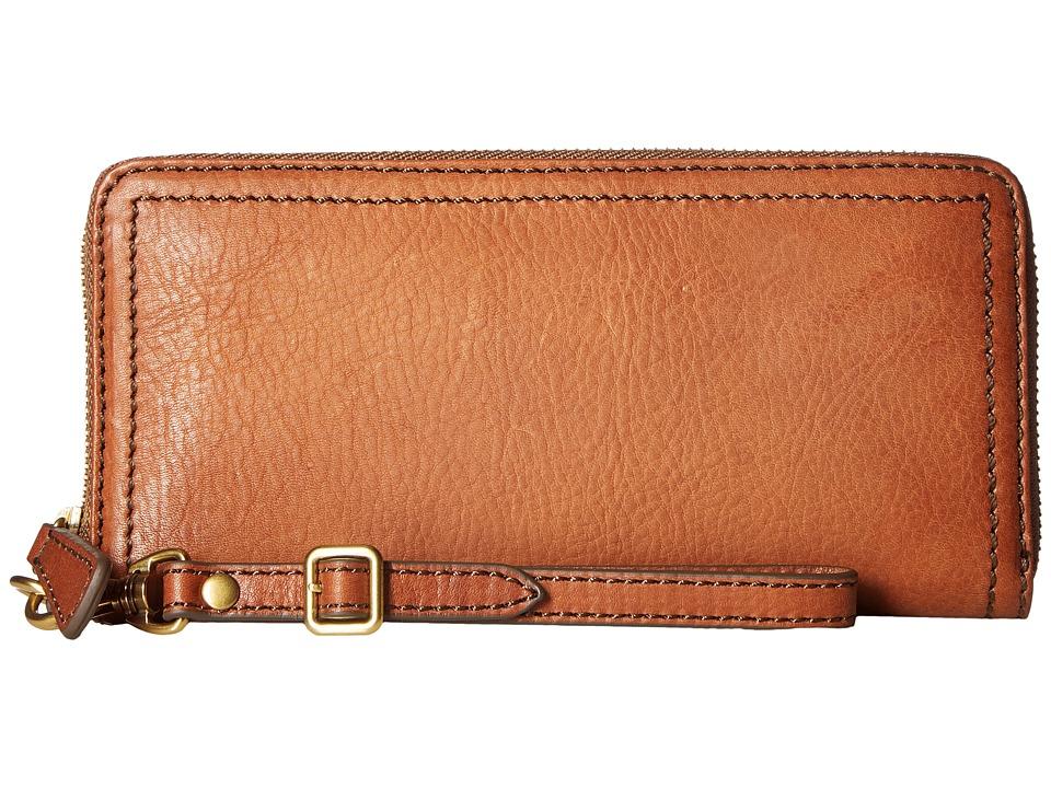 Frye - Claude Zip Wallet (Whiskey Pebbled Full Grain) Wallet Handbags