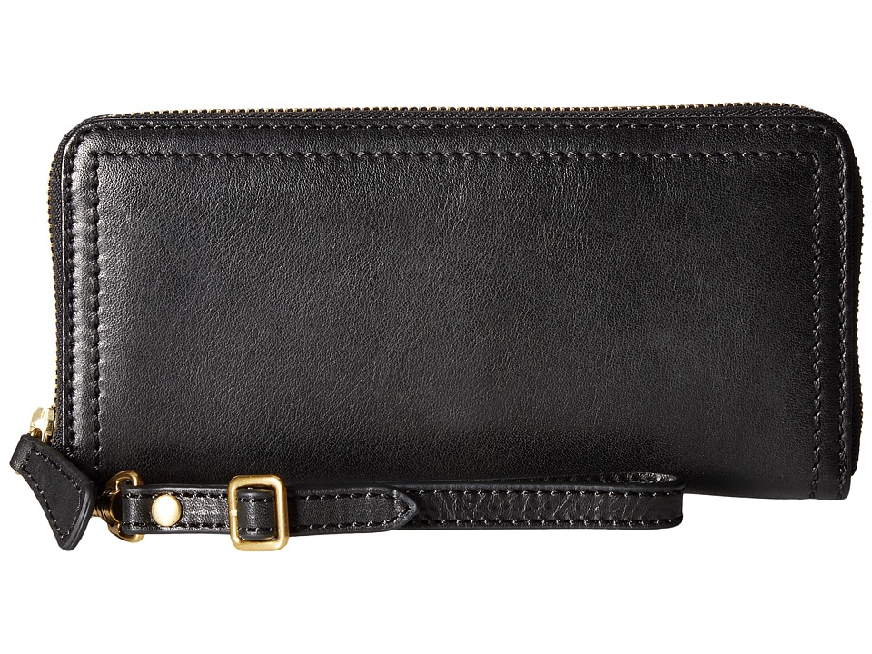 Frye - Claude Zip Wallet (Black Pebbled Full Grain) Wallet Handbags