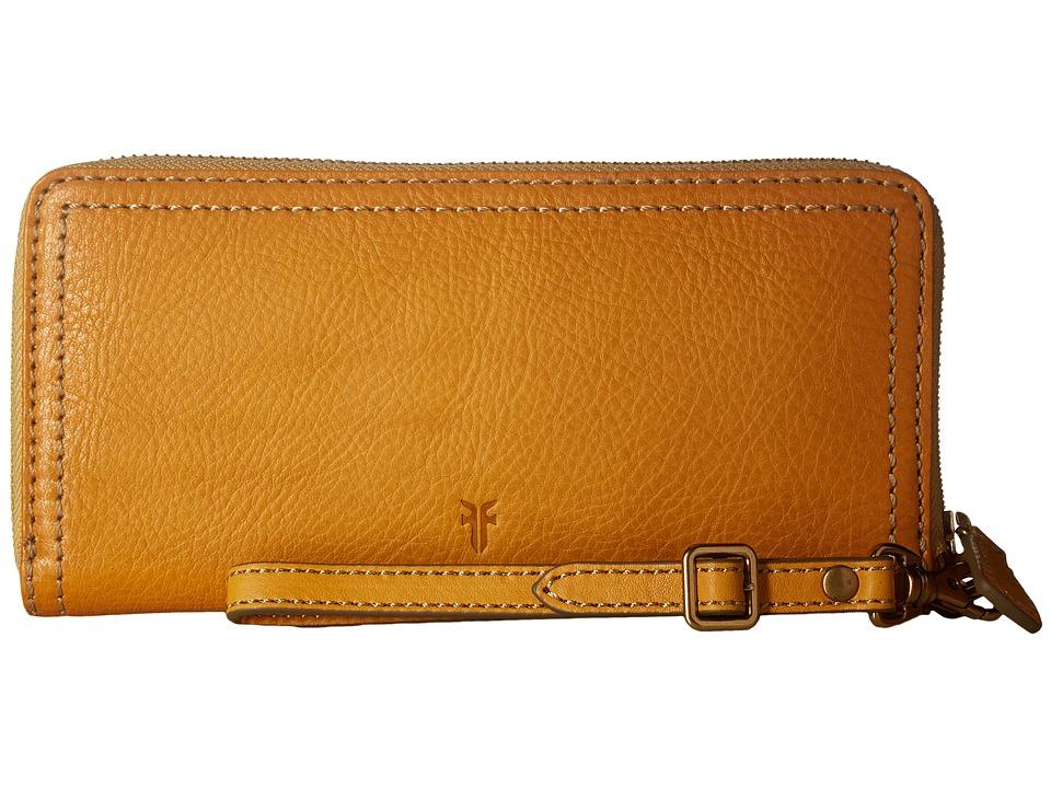 Frye - Claude Zip Wallet (Yellow Pebbled Full Grain) Wallet Handbags
