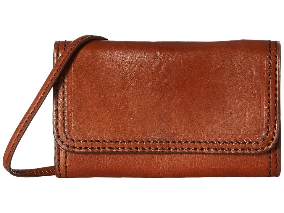 Frye - Claude Phone Crossbody (Whiskey Pebbled Full Grain) Cross Body Handbags