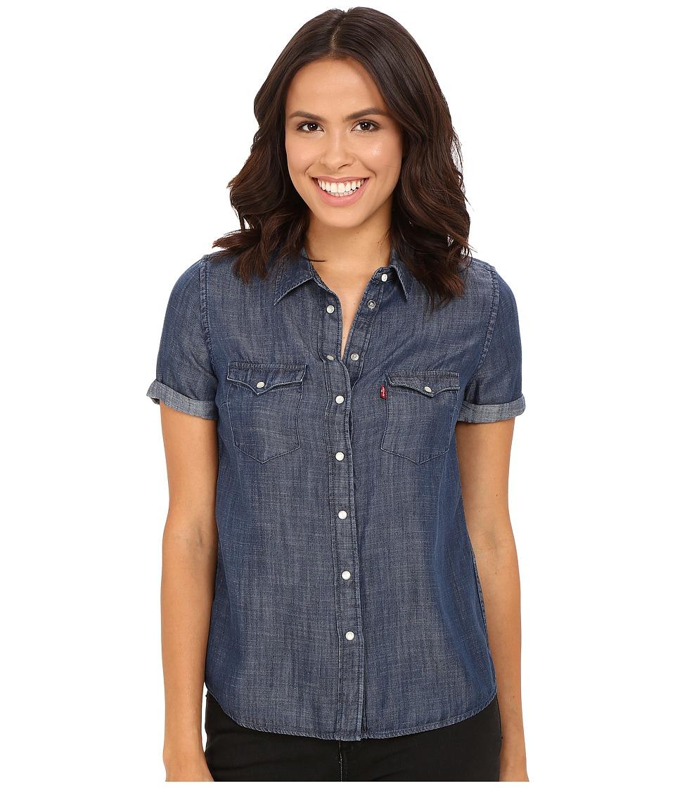 Levi's(r) Womens - Short Sleeve Western Shirt (Ocean Blue) Women's Clothing