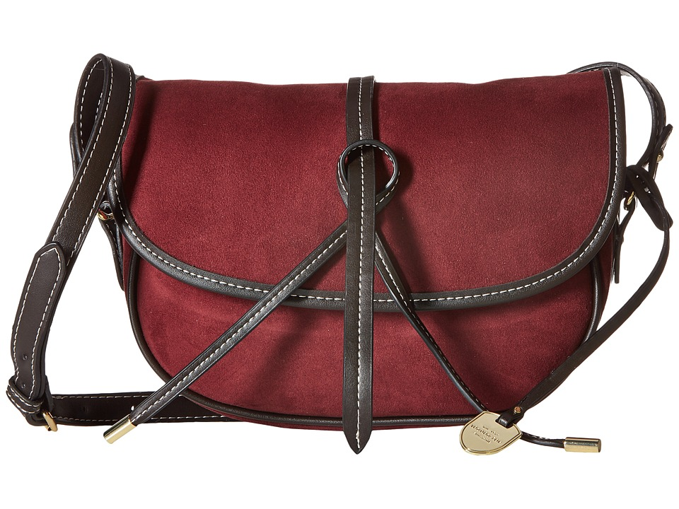 London Fog - Newbury Saddle Crossbody (Plum Suede) Cross Body Handbags