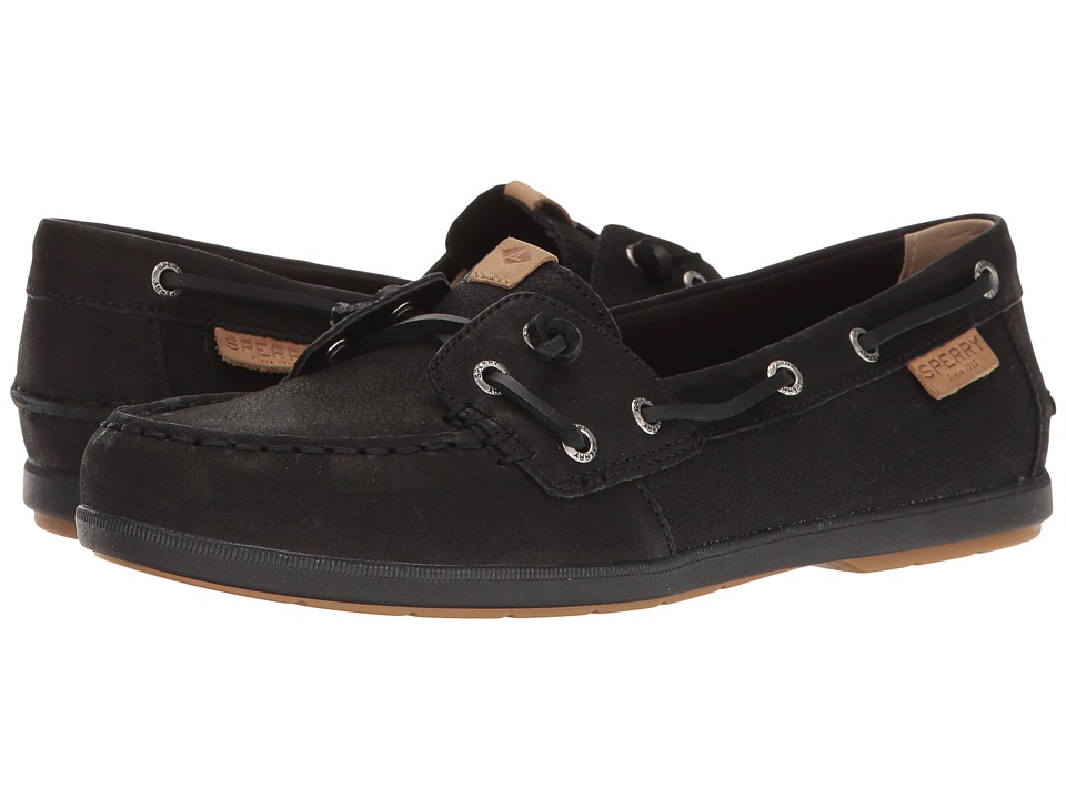Sperry - Coil Ivy Leather Canvas (Black) Women's Moccasin Shoes