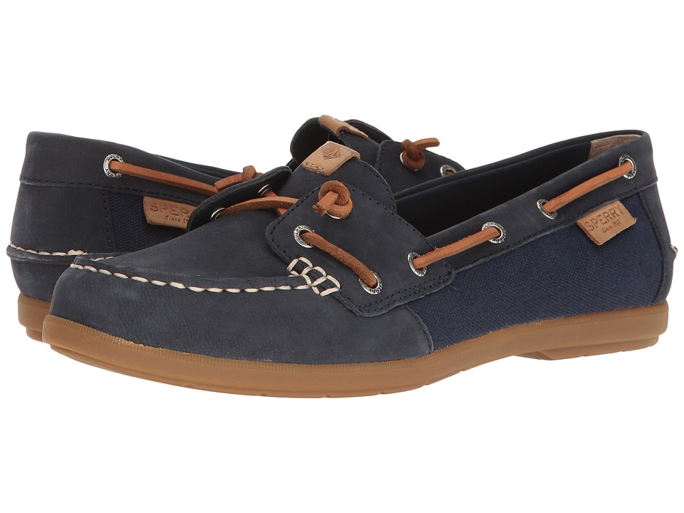 Sperry - Coil Ivy Leather Canvas (Navy) Women's Moccasin Shoes