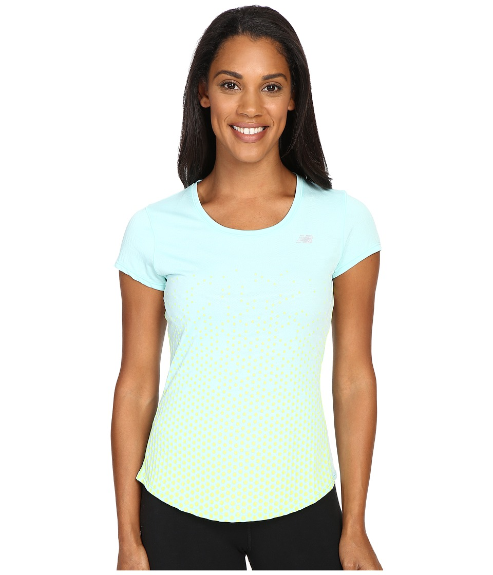 New Balance - Accelerate Short Sleeve Graphic Top (Arctic Blue/Hi Lite Print) Women's Short Sleeve Pullover