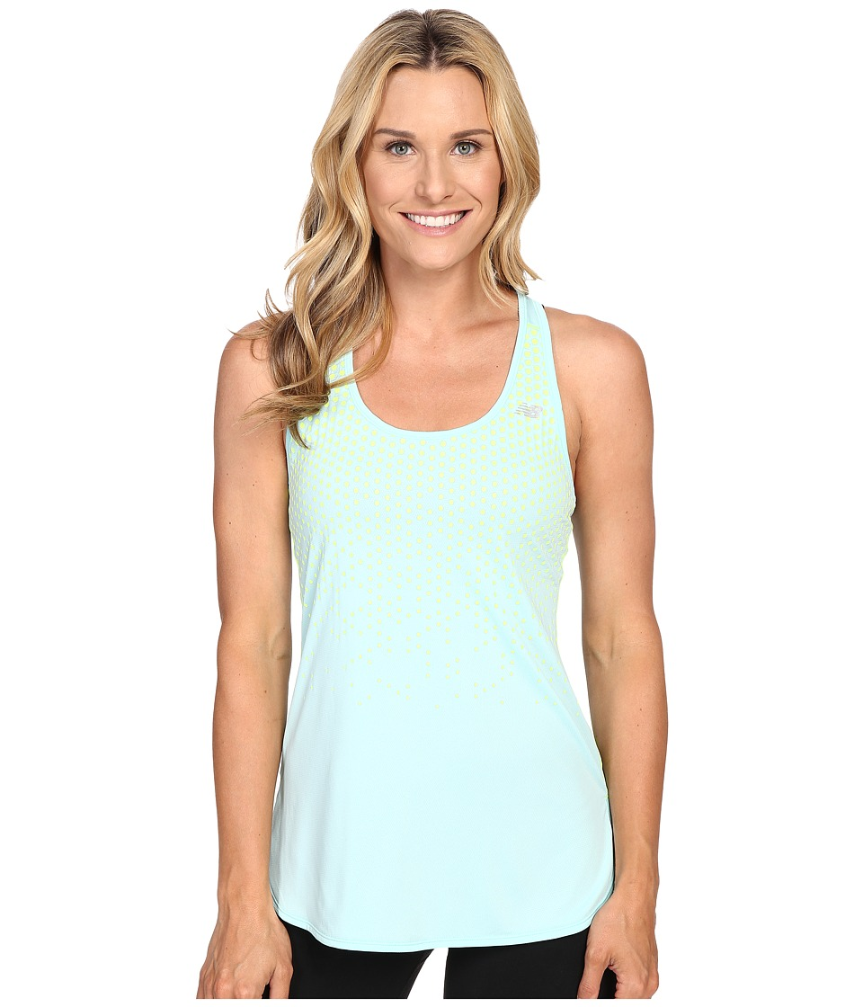 New Balance - Accelerate Tunic Graphite Tank Top (Arctic Blue/Hi Lite Print) Women's Sleeveless