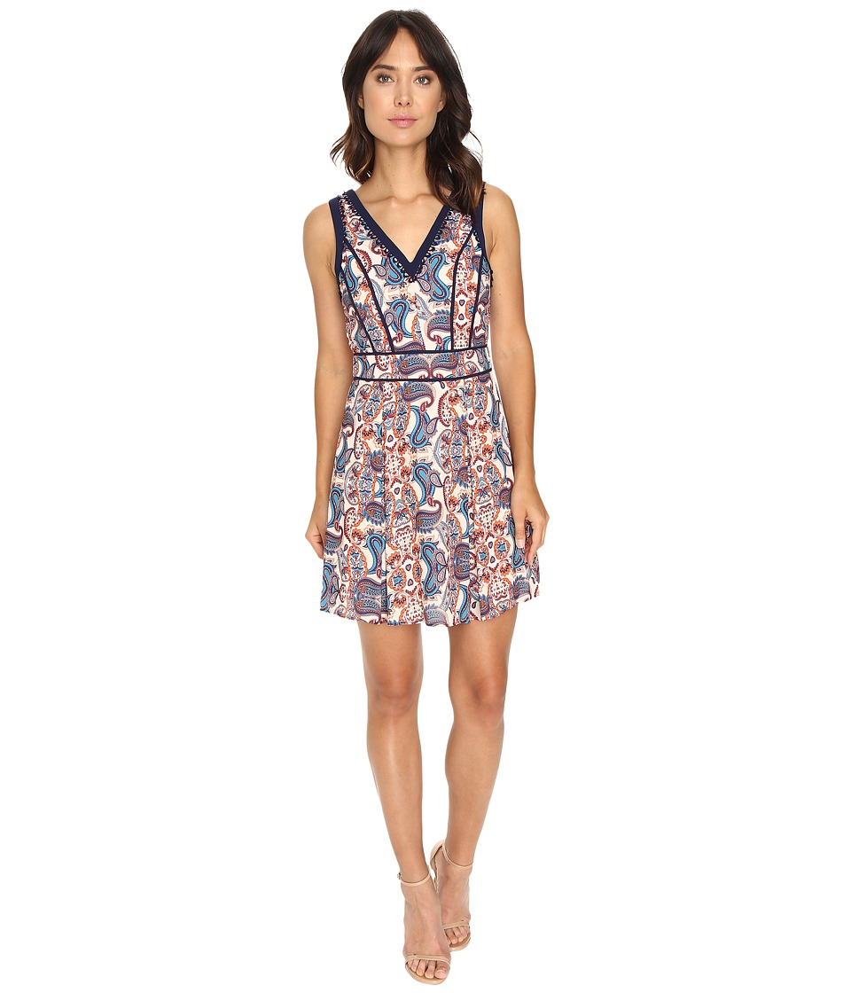 Adelyn Rae - Fit and Flare w/ Contrast Binding (Rust/Blue) Women's Dress