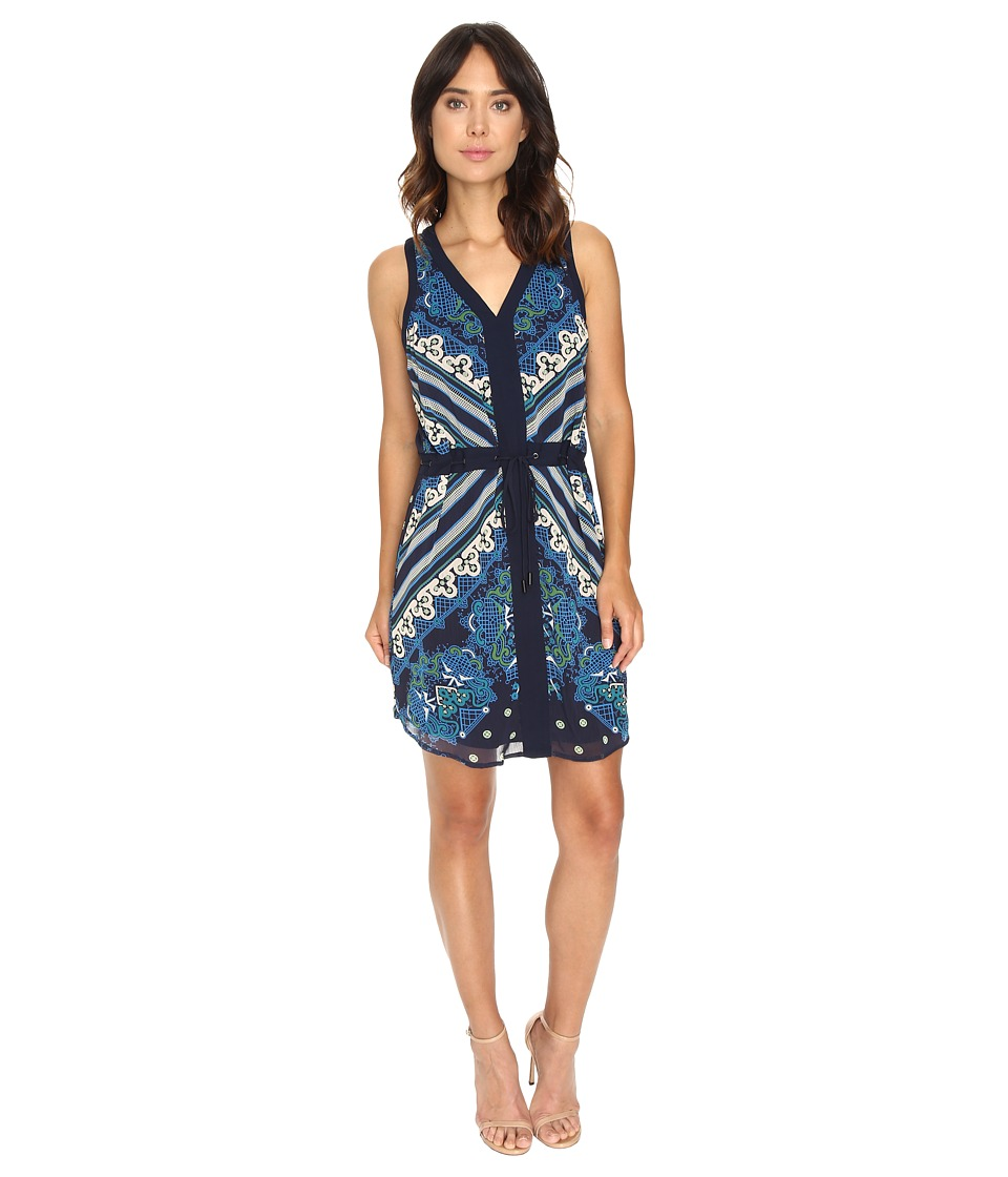Adelyn Rae - Shift Dress with Scoop Hem (Blue Multi) Women's Dress