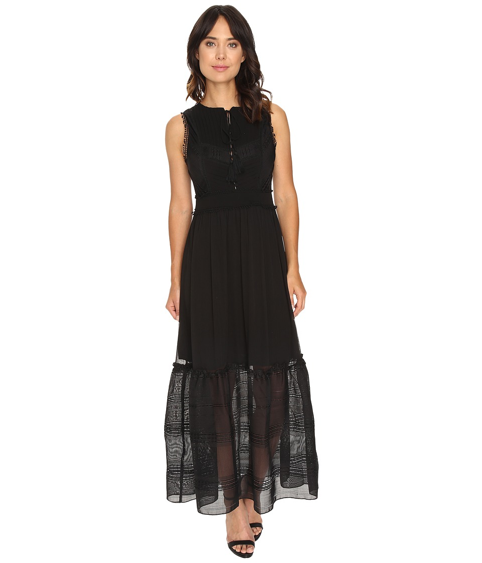 Adelyn Rae - Maxi w/ Pintuck Details and Ladder Trim (Black) Women's Dress