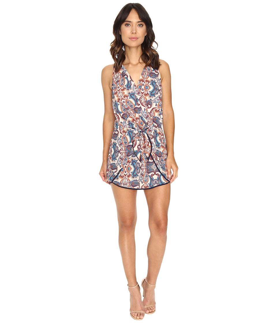 Adelyn Rae - Woven Romper with Tie (Rust/Blue) Women's Jumpsuit & Rompers One Piece