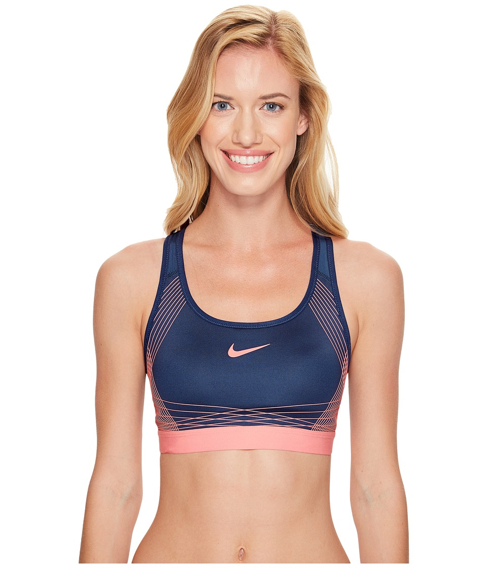 Nike - Pro Hyper Classic Padded Medium Support Sports Bra (Squadron Blue/Lava Glow/Lava Glow) Women's Bra