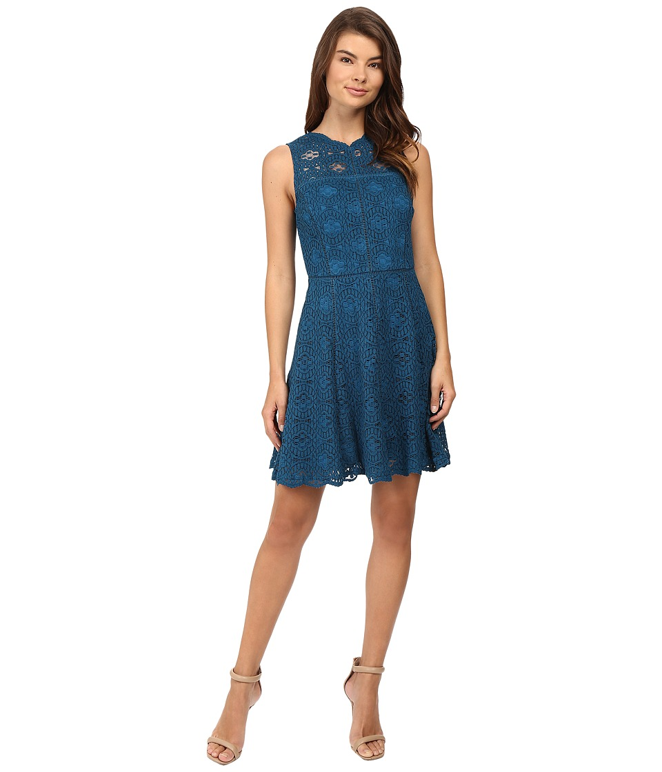 Adelyn Rae - Woven Lace Fit and Flare Dress (Teal) Women's Dress