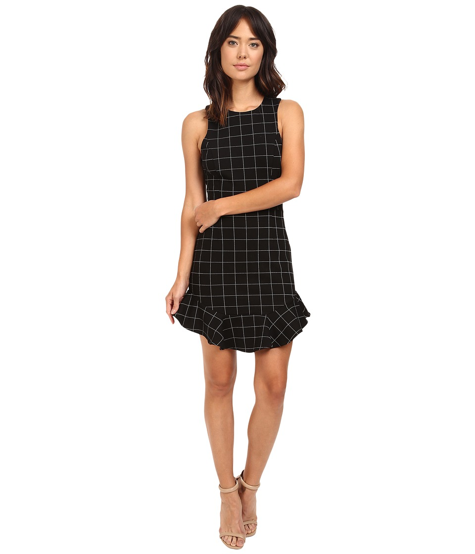 Adelyn Rae - Knit Plaid Halter Mini Dress (Black) Women's Dress