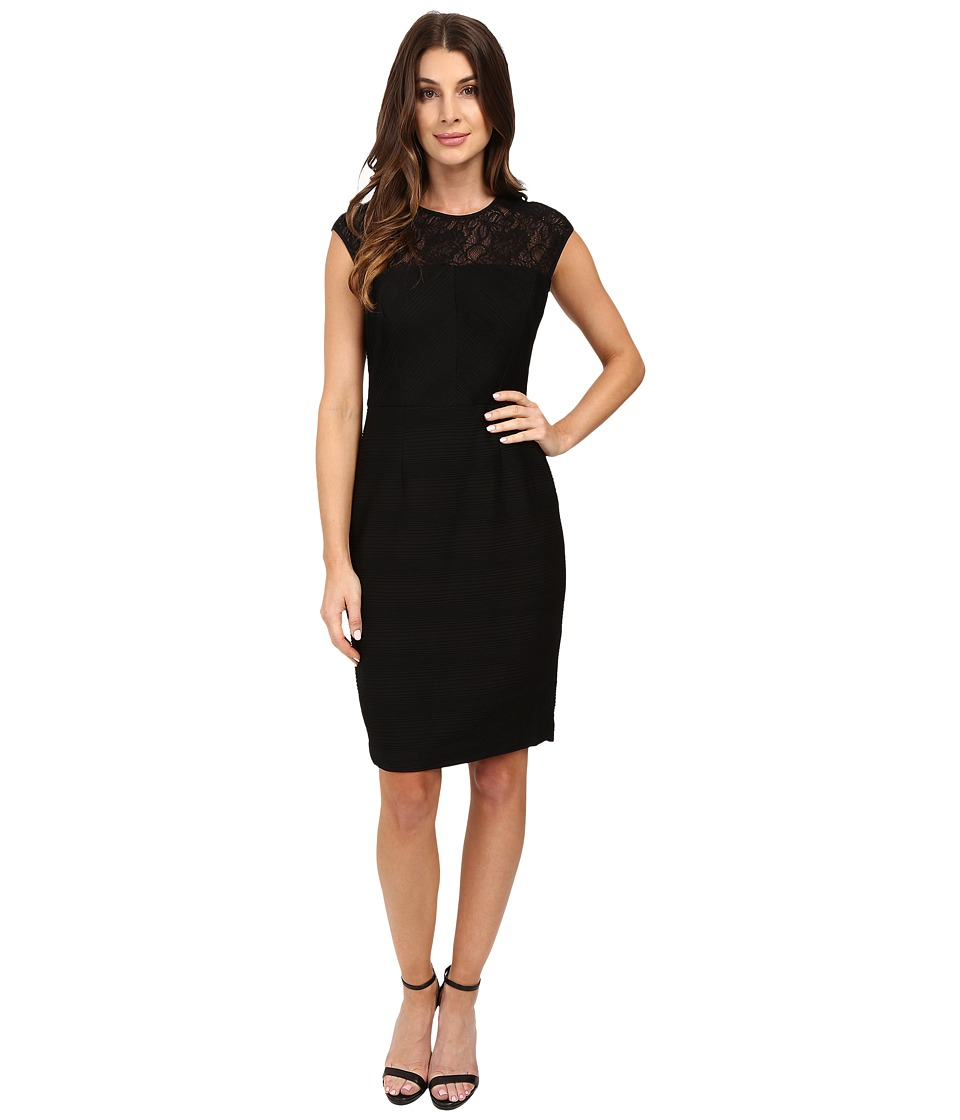 London Times - Lace Yoke Pinch Pintuck Sheath (Black/Black) Women's Dress
