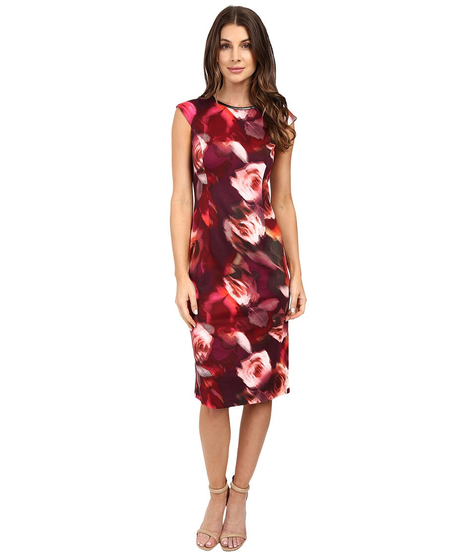 London Times - Rainbow Rose Cap Sleeve Midi (Black/Deep Purple/Vermillion Red) Women's Dress