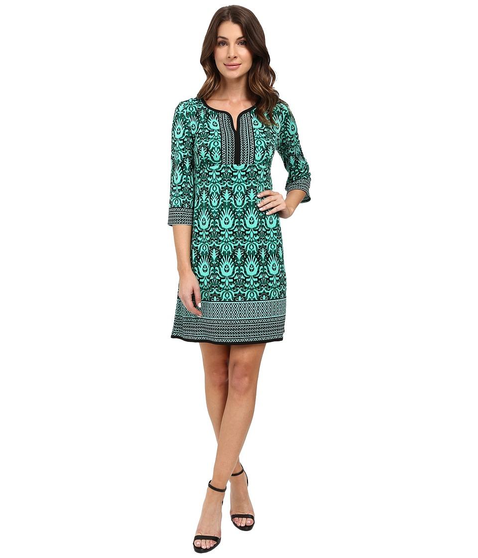 London Times - Tribal Medallion Long Sleeve Shift (Black/Black/Dynasty Green) Women's Dress