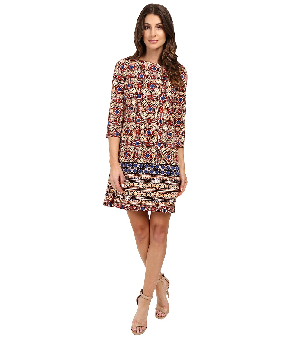 London Times - Carpet Medallion 3/4 Sleeve Shift (Orange/Blue) Women's Dress