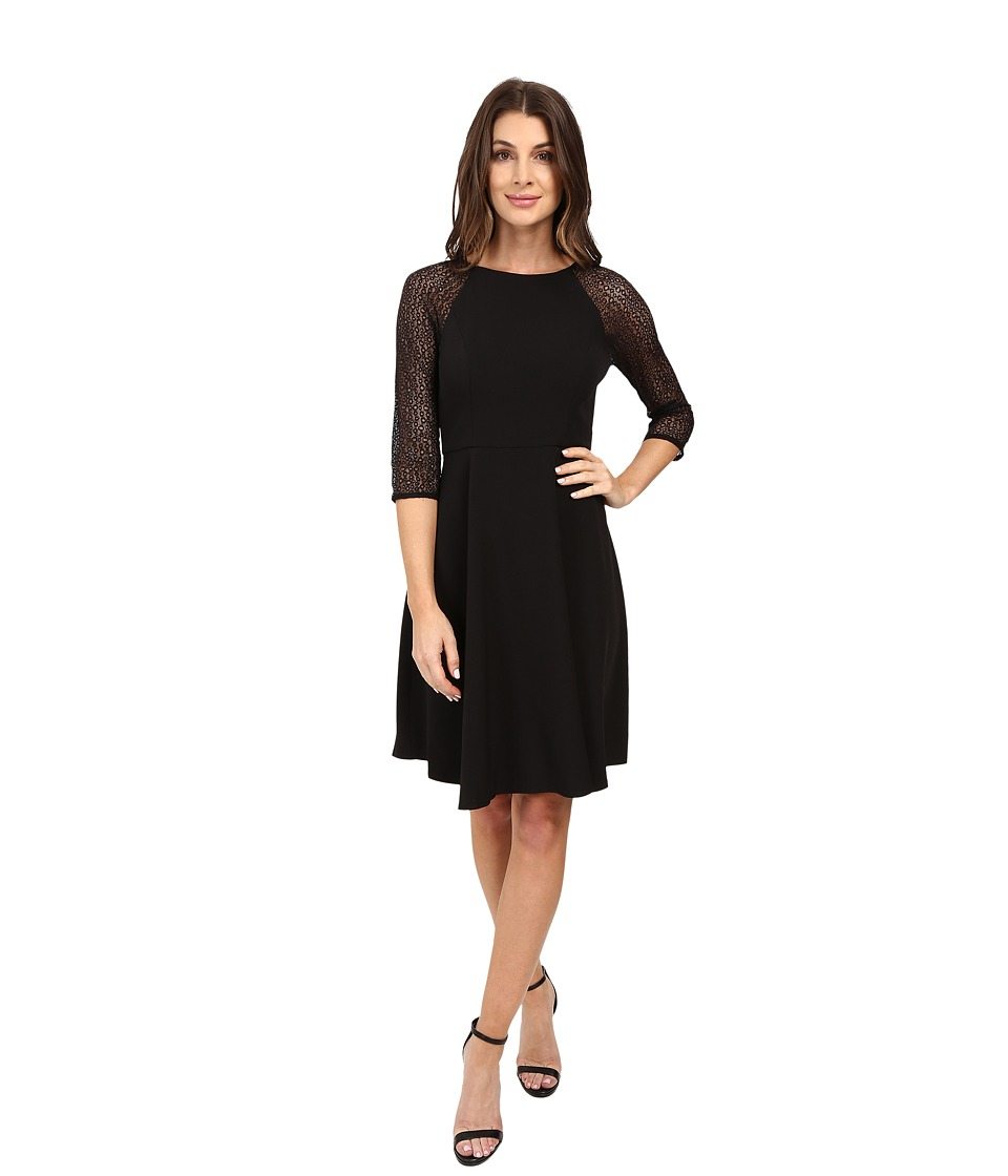 London Times - Bubble Lace Crepe Fit Flare (Black/Nude/Black) Women's Dress