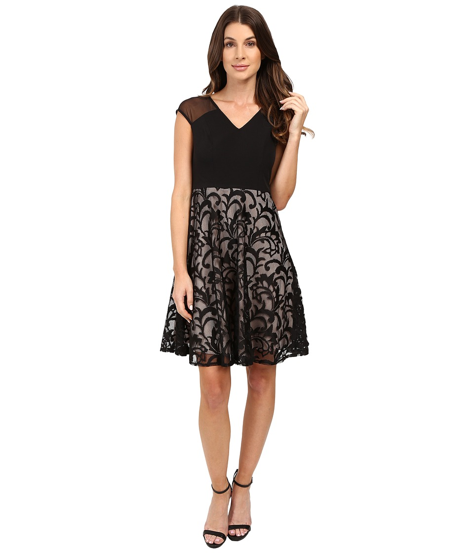London Times - Crepe Lace Fit Flare (Black/Black/Black/Nude) Women's Dress
