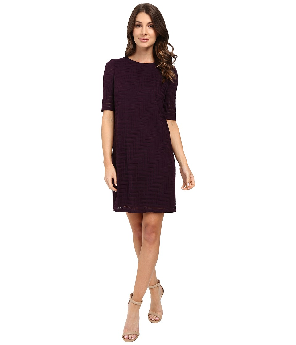 London Times - Geo Burnout Shift Dress (Plum Stone) Women's Dress